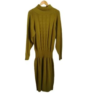 VINTAGE Eighties Green Cable Knitted Midi Dress